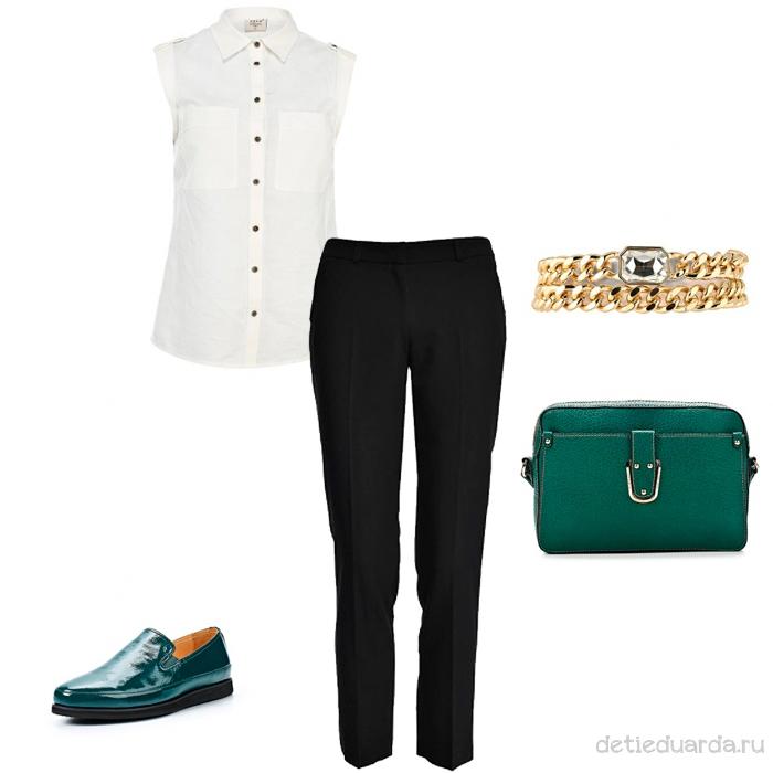 комплект черные брюки и белая рубашка