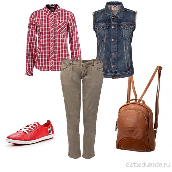 клетчатая рубашка с джинсами и красными кедами