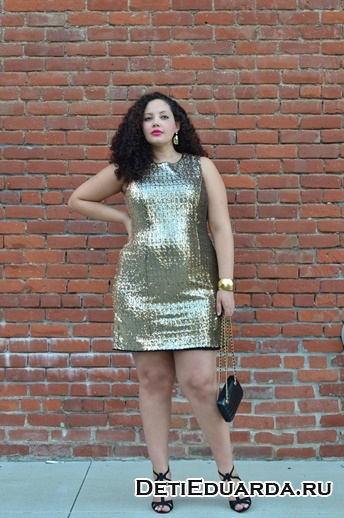 блестящее платье с пайетками на полную фигуру
