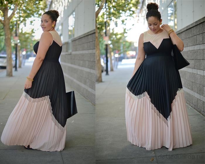 Платье гофре для полных