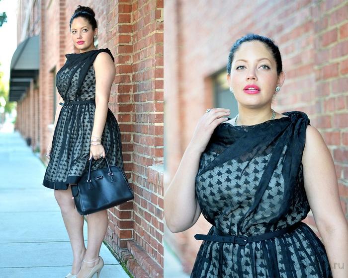 вечернее-платье-для-полных-кружевное-черное