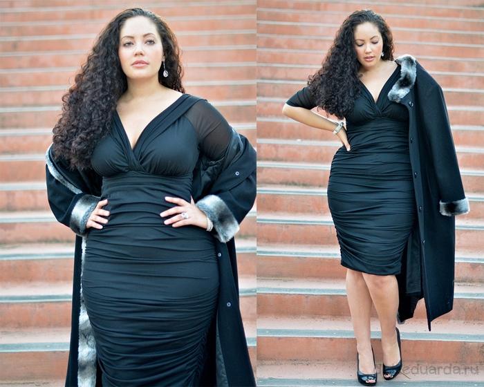 вечернее-платье-для-полных-черное-в-обтяжку