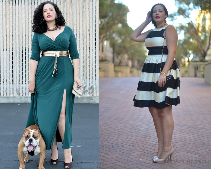 вечерние-платья-для-полных,-длинное-зеленое--и-короткое