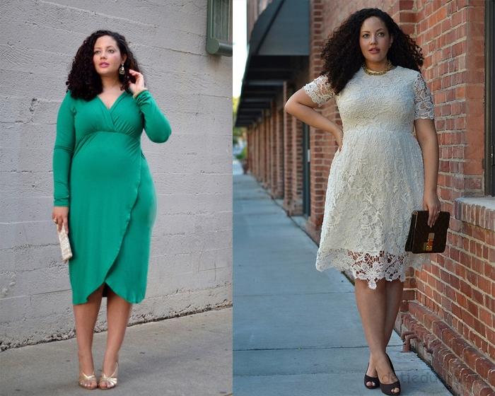 вечерние-платья-для-полных,-длинное-зеленое-и-кружевное-белое
