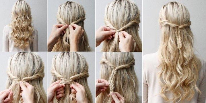летние прически на длинные волосы, косы сзади