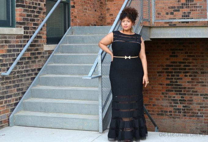 черное длинное вечернее платье для полных