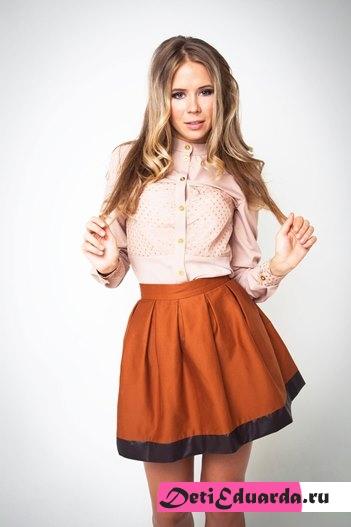 юбка колокол с завышенной талией с чем носить4